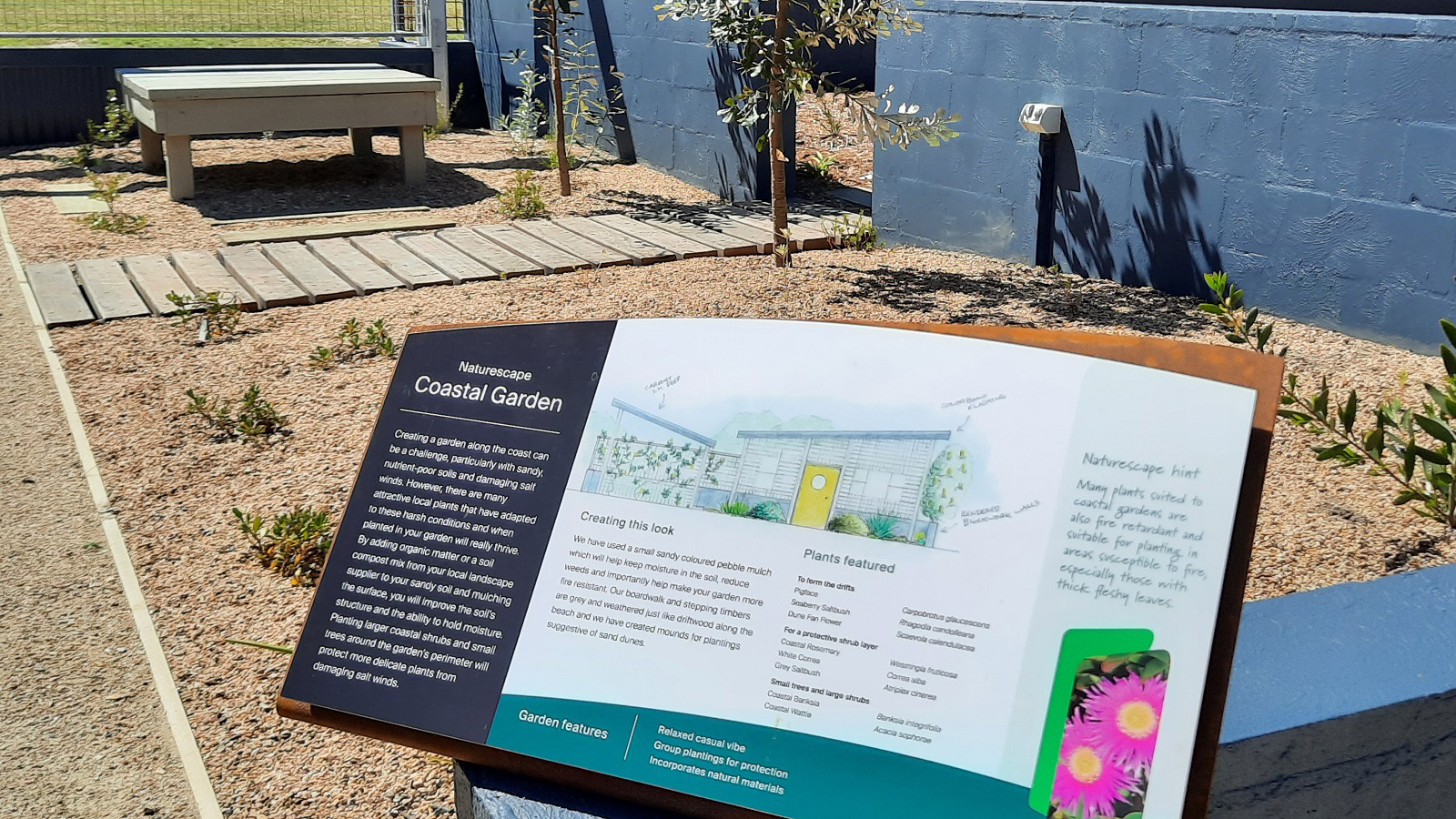 A photograph of on-site signage
