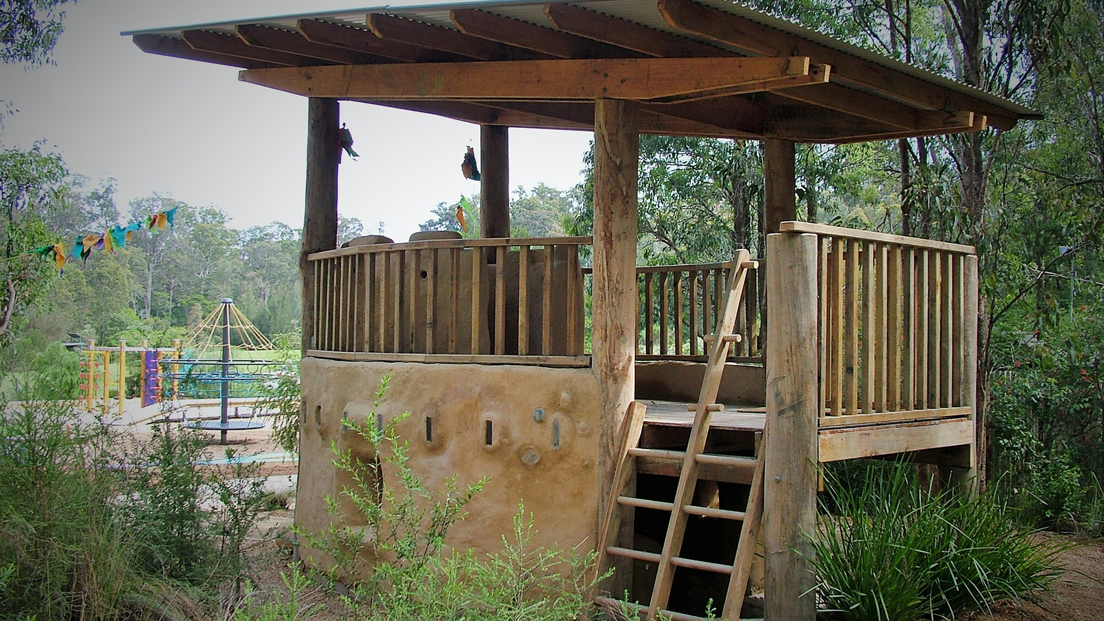 The mud brick fort at the Botanic Garden playspace