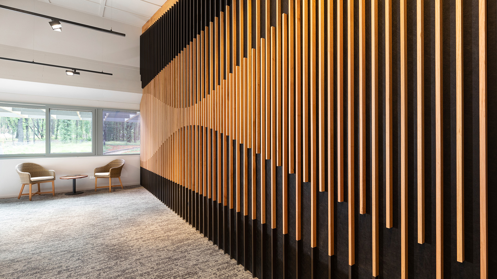 A decorative feature wall in the Banksia Room