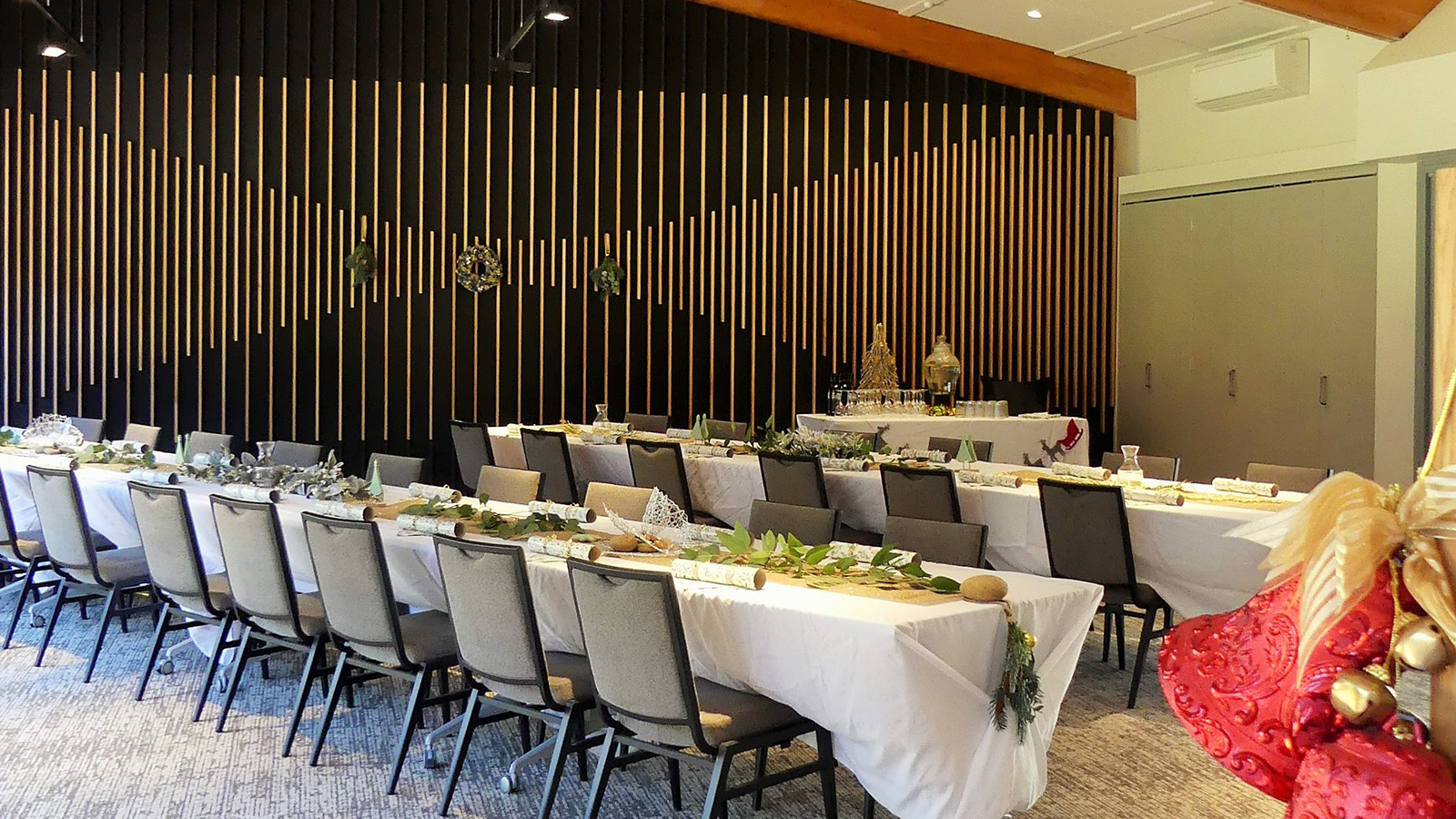 Two decorated banquet table in the Banksia Room