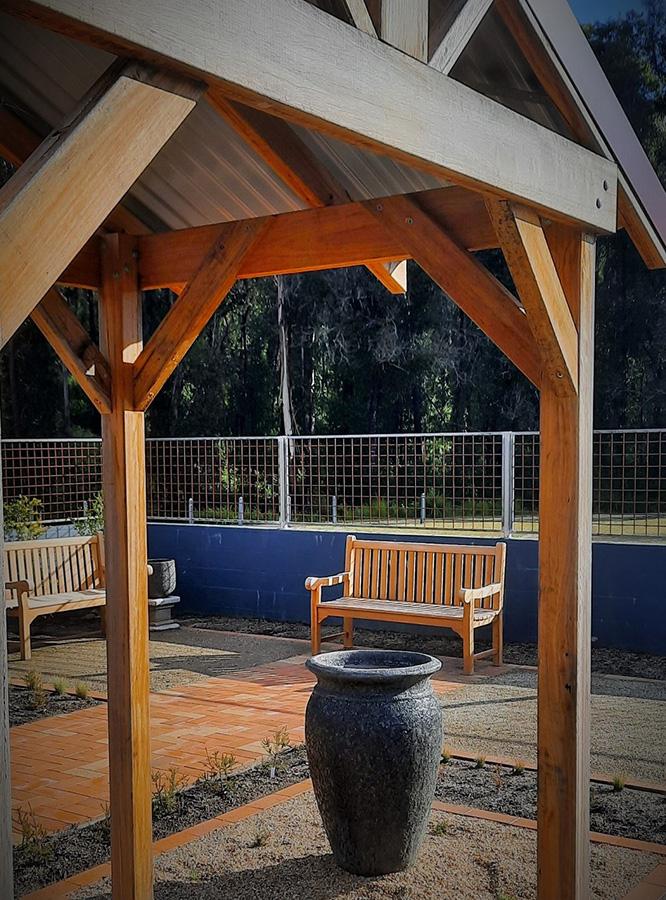 A garden gazebo and sitting area