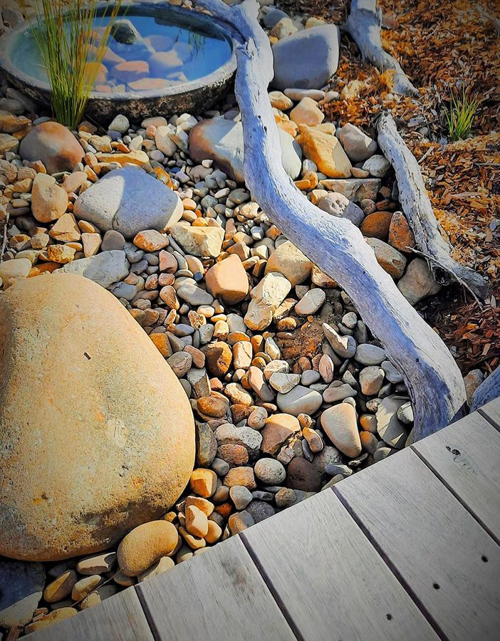 A rock garden and boardwalk